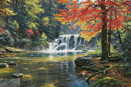 cross stitch pattern Tranquil Falls