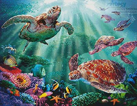 cross stitch pattern Turtle Voyage