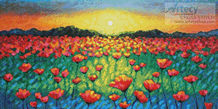 cross stitch pattern Twilight Poppies