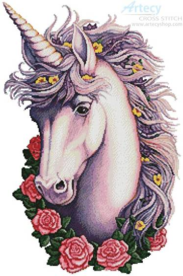 cross stitch pattern Unicorn Cameo