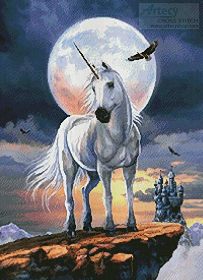 cross stitch pattern Unicorn in Moonlight