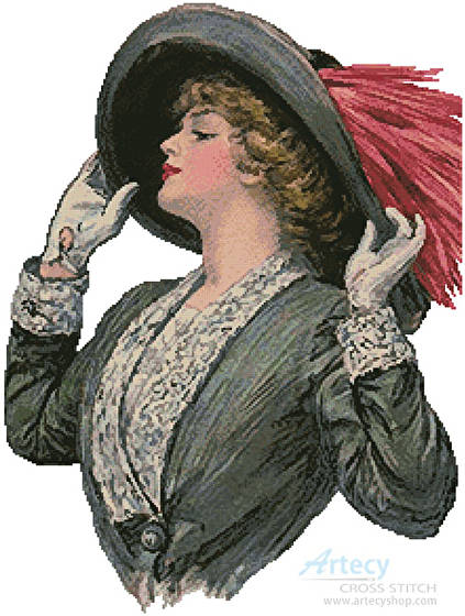 cross stitch pattern Victorian Hat