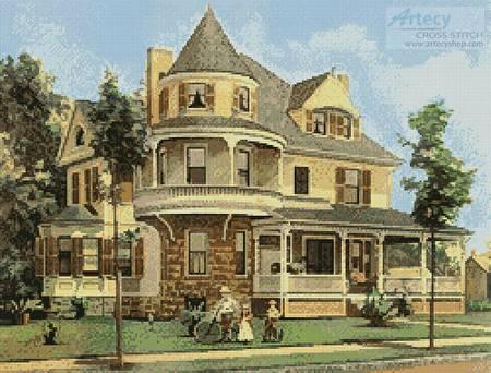 cross stitch pattern Victorian House 2