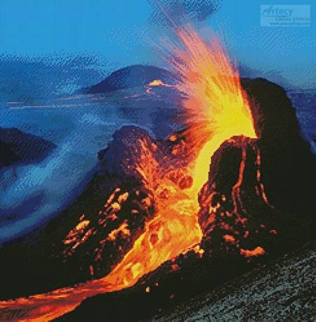 cross stitch pattern Volcano