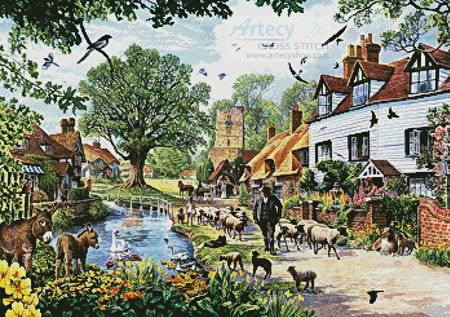 cross stitch pattern A Village in Spring