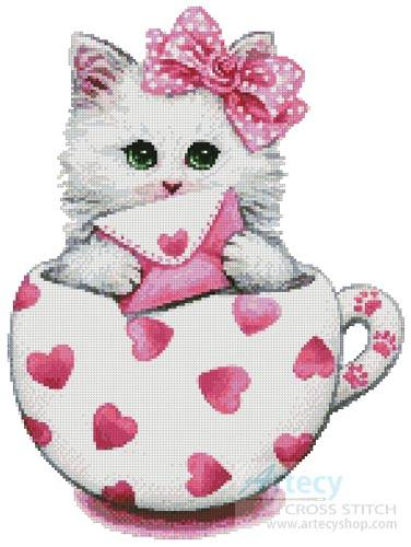 cross stitch pattern Valentine Kitty Cup