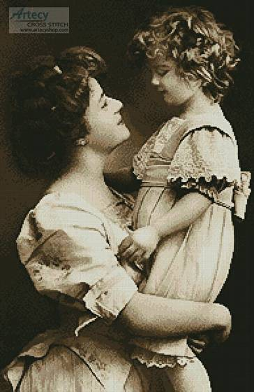 cross stitch pattern Vintage Mother and Daughter