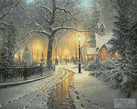 cross stitch pattern Winter Chapel