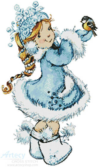 cross stitch pattern Winter Girl