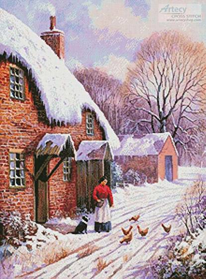 cross stitch pattern Winter on the Farm