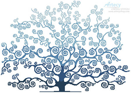 cross stitch pattern Winter Tree Silhouette