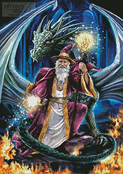 cross stitch pattern Wizard with Dragon