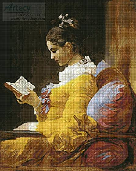 cross stitch pattern Young Girl Reading