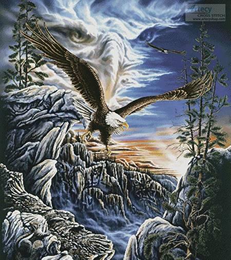 cross stitch pattern 10 Eagles (Cushion)