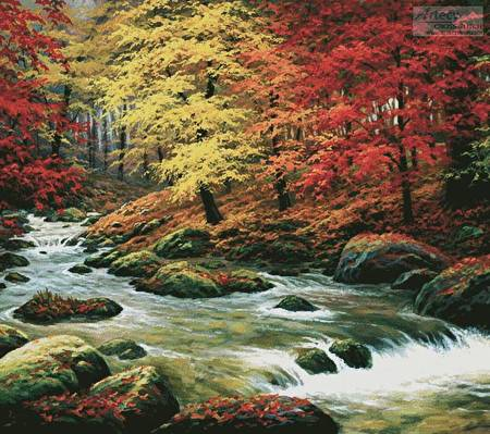 cross stitch pattern Autumn in Boulder Creek (Cushion)