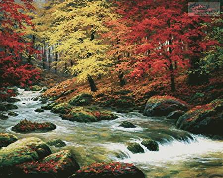 cross stitch pattern Autumn in Boulder Creek (Large)
