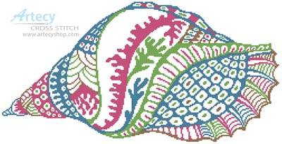cross stitch pattern Abstract Shell Design