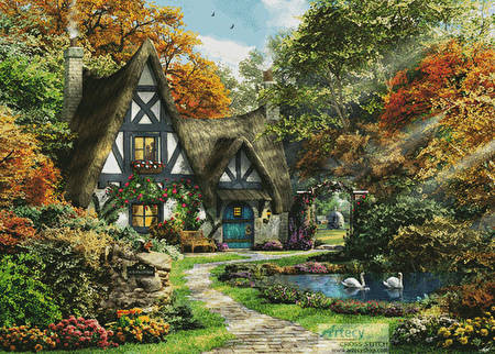 cross stitch pattern The Autumn Cottage (Large)