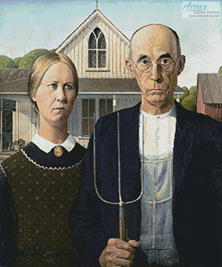 cross stitch pattern American Gothic