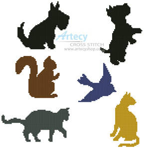 cross stitch pattern Animal Silhouettes