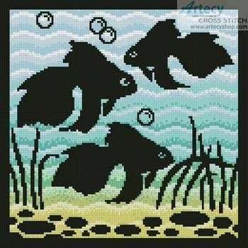 cross stitch pattern Aquarium Silhouette 1