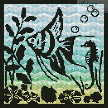 cross stitch pattern Aquarium Silhouette 3