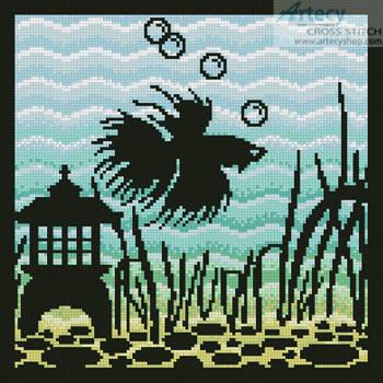 cross stitch pattern Aquarium Silhouette 4