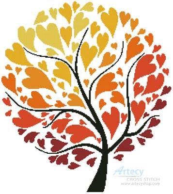 cross stitch pattern Autumn Tree of Hearts