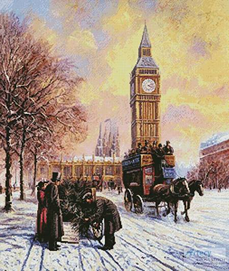 cross stitch pattern Big Ben at Winter