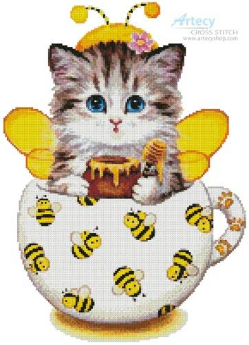cross stitch pattern Bee Kitty Cup