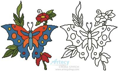 cross stitch pattern Butterfly Flowers