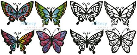 cross stitch pattern Butterfly Set 1