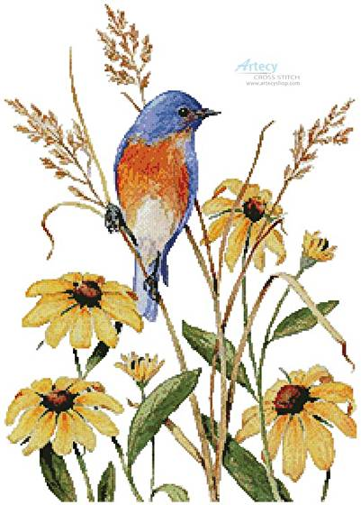 cross stitch pattern Bluebird and Susies