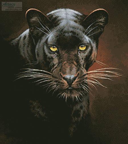 cross stitch pattern Black Panther Portrait