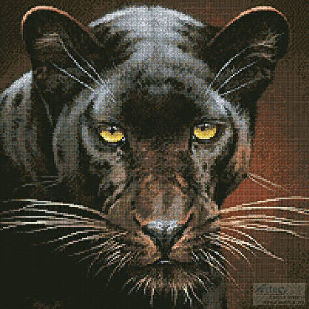 cross stitch pattern Black Panther Portrait (Crop)