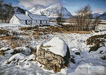 cross stitch pattern Black Rock Cottage in Winter