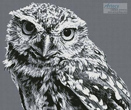 cross stitch pattern Black and White Owl