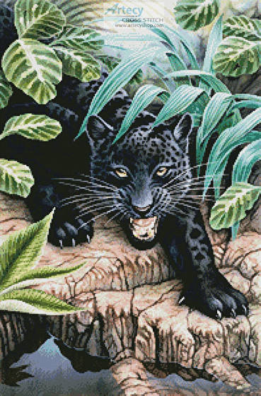 cross stitch pattern Black Panther in the Jungle