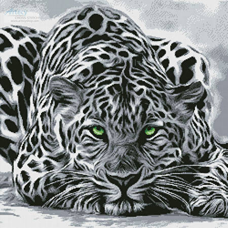 cross stitch pattern Black and White Leopard