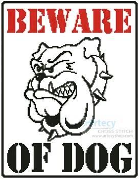 cross stitch pattern Beware of Dog