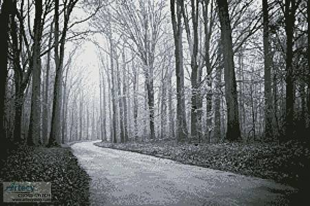 cross stitch pattern Black and White Road through Trees