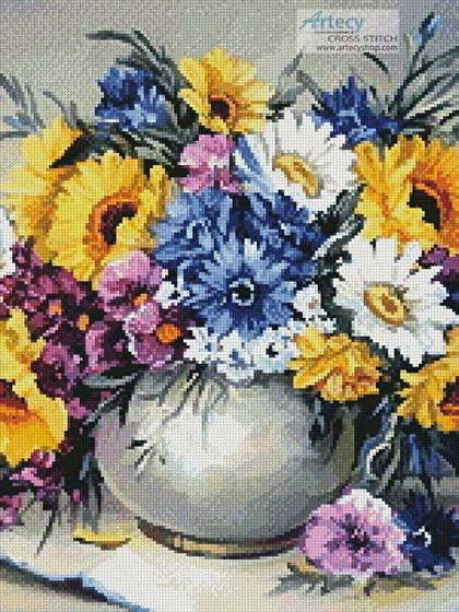 cross stitch pattern Colourful Bouquet (Crop)