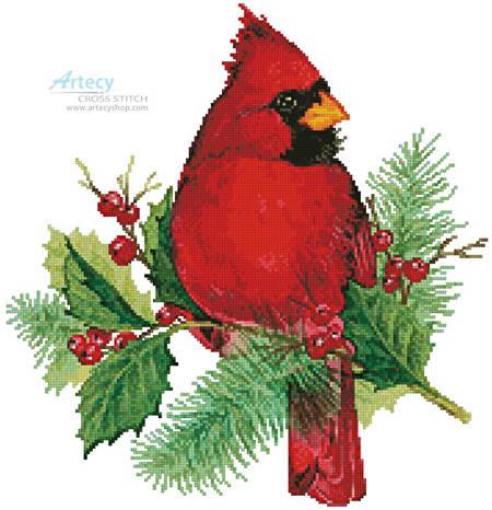 cross stitch pattern Cardinal and Holly