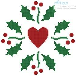 cross stitch pattern Christmas Holly Heart
