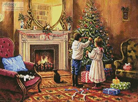 cross stitch pattern Christmas Interior