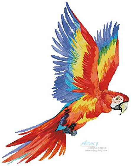 cross stitch pattern Colourful Macaw