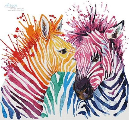 cross stitch pattern Colourful Zebras