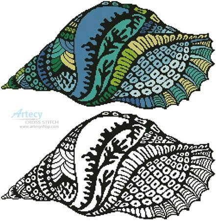 cross stitch pattern Colour Shell Design 1