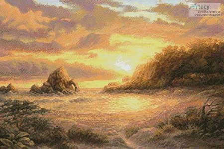 cross stitch pattern Coastal Sunset