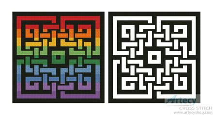 cross stitch pattern Celtic Rainbow Design